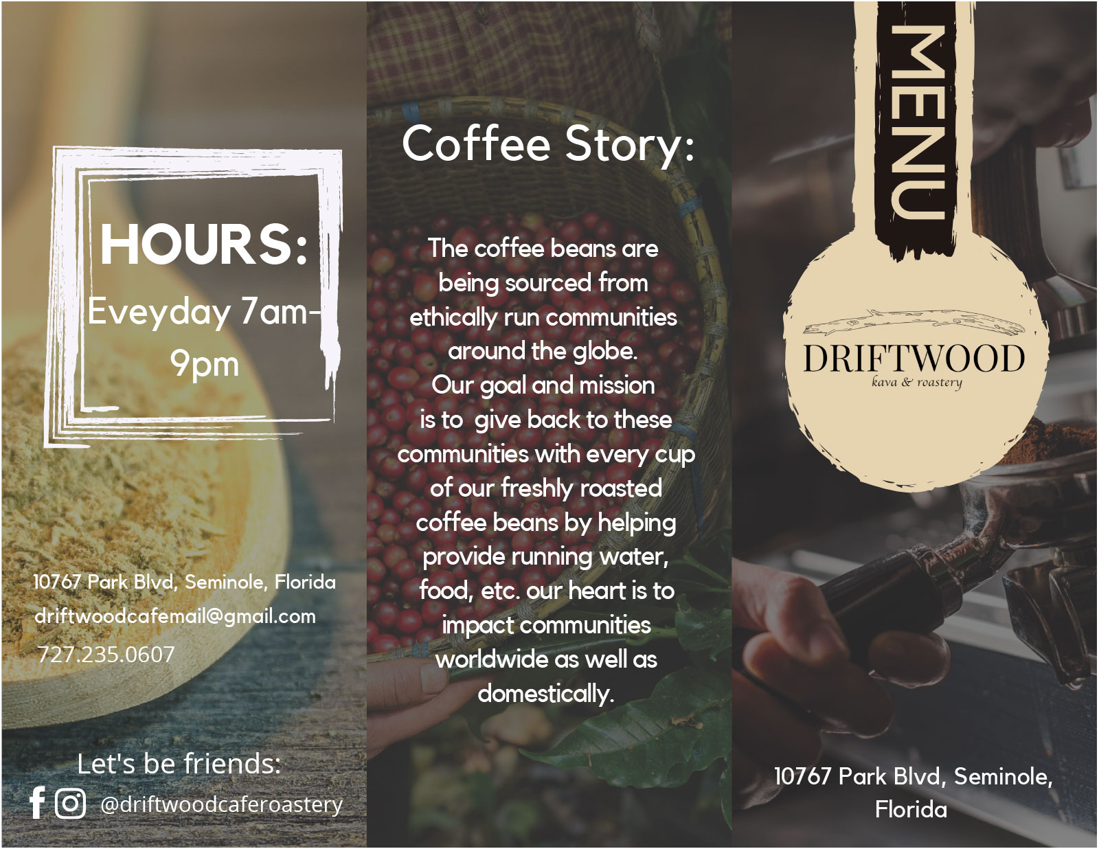 Our Menu Driftwood Kava & Coffee Roastery